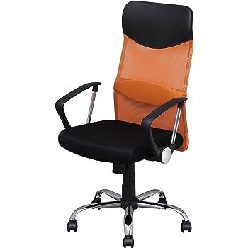 オフィスチェア 低反発 肘付 メッシュ ハイバック オレンジ