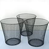 Black Wire Mesh Round Waste Basket (3 Pack), Set of 3