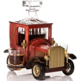Whiskey Decanter Set NEW 2020 Christmas Gift with Crystal Glasses and Old Fashioned Vintage Car Stand - Personalized Gift Set