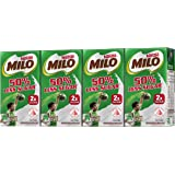 MILO UHT 50% Less Sugar Chocolate Malted Milk 125ml, (Pack of 4)