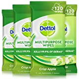Dettol Multi Purpose Antibacterial Disinfectant Surface Cleaning Wipes Crisp Apple Bundle, Count of 120 Wipes, 4 Pack