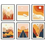 "Haus and Hues Abstract Minimalist Landscape Wall Art Prints 8""x10"" - Set of 6 Modern Aesthetic Mountain Wall Art Posters 