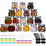 20 Pcs Mason Jars 8 Oz, Regular Mouth Glass Canning Jars With Silver Metal Airtight Lids And Bands, Colored Lids, Chalkboard
