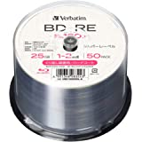 【Amazon.co.jp限定】Verbatim バーベイタム くり返し録画用 ブルーレイディスク BD-RE 25GB 50枚 1-2倍速 シルバーレーベル インデックスカード付き VBE130N50L-A