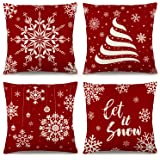 YGEOMER Christmas Pillow Covers 18×18 Inch Set of 4 Farmhouse Pillow Covers Holiday Rustic Linen Pillow Case for Sofa Couch S