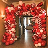BONROPIN Christmas Balloon Garland Arch kit 144 Pieces with Christmas Red White Candy Balloons Gift Box Balloons Red Star Bal