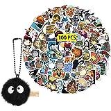 Kilmila Miyazaki Hayao Stickers 100Pcs(with Spirited Away Soot Sprites Decor)Gifts Collection Miyazaki's Works Stickers Set M