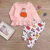 SEVEN YOUNG Halloween Kids Toddler Baby Girls Fall Outfits Pumpkin Long Sleeve Ruffle Dress T-Shirt+Pants Winter Clothes Set
