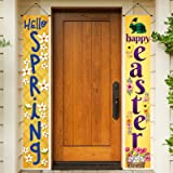 Happy Easter Day Porch Sign, Hello Spring Decoration Hanging Banner for Front Porch Door Home Indoor Outdoor, Decorated with