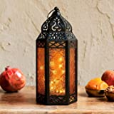 Moroccan Lantern with Fairy Lights - 11 Inch Tall, Amber Colored Glass, Black Metal Frame, 20 LED Lights, Ramadan Decoration
