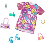 Barbie Storytelling Fashion Pack of Doll Clothes Inspired by Hello Kitty & Friends: Dress with Character Print & 6 Accessorie