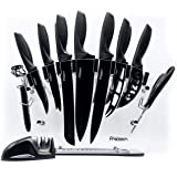 17 Piece Knife Set with Block and Sharpener - by Kitchen Precision. Enhance Your Room Décor with Kitchen Utensil Set w/ Six S