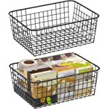 Wire Storage Basket, F-color 2 Pack Large Metal Household Storage Organizer Bin with 4 Built-in Handles for Pantry, Shelf, Fr