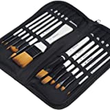 MEEDEN Professional Paint Brush Set-12 Pcs with Carry Case, Suitable for Watercolor, Oil, Gouache Painting, Acrylic Painting,