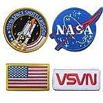 Bundle 4 Pieces Embroidered Decorative Fastener Hook & Loop Military Tactical Morale Badge Emblem Patch - NASA Logo,100th...