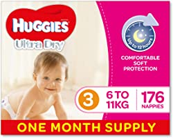 Huggies Ultra Dry Nappies, Girls, Size 3 Crawler (6-11kg), 176 Count, One-Month Supply, Packaging May Vary