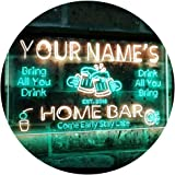 Personalized Your Name Custom Home Bar Beer Established Year Dual Color LED Neon Sign Green & Yellow 300 x 210 mm st6s32-p1-t