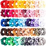 R HORSE 50 Packs Satin Hair Scrunchies Set Elastic Colorful Ponytail Holder Solid Color Hair Ties Soft Hair Bobbles Hair Acce