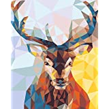 DIY Paint by Numbers Kit for Adults - Christmas Deer Doe Landscape Scene Paintings Arts Craft for Home Wall Decor | Pre-Print