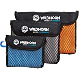 WildHorn Outfitters Microlite Travel Towel Bundle for Camping, Hiking & Backpacking. Microfiber Quick Dry Towel Set - Large,