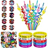 Among us Merch 80 Pack Birthday Party Supplies Favors decorations Gifts Set Include 10 Bracelets 10 Button Pins 10 Reusable S