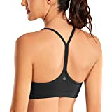 CRZ YOGA Women's Low Impact Strappy Padded Sports Bra for Women Y Racer Back Spaghetti Straps Yoga Bra Tops