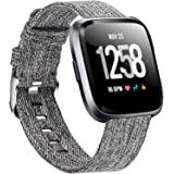 Welltin Bands Compatible with Fitbit Versa/Fitbit Versa 2/Fitbit Versa Lite for Women Men, Breathable Woven Fabric Strap, Qui