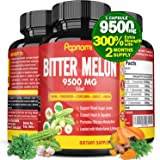 Organic Bitter Melon Extract Capsules 9500mg with Neem, Fenugreek, Curcumin, Garlic, Papaya   Lower Balance Blood Sugar Press