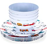 Camco Life is Better at The Campsite 12 Piece Dishware Set-Multicolor Retro RV and Trailer Print, Includes Plates and Bowls,
