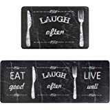 Lidimei Anti Fatigue Rugs and Mats Kitchen Set of 2 Thick Cushioned Mat Rugs for Kitchen Non Slip Waterproof Stain Resistant