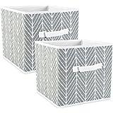 DII CAMZ38455 Polyester Herringbone Bin, Small Set, 13x13x13 Cube, Gray, 2 Count