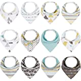 Baby Bandana Bibs for Boys,12 Pack Teething and Drooling Bibs for Baby Boys,Super Absorbent Cotton Baby Bandana Drool Bibs,Ad