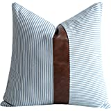Merrycolor Farmhouse Decorative Throw Pillow Covers for Couch Sofa Stripe Faux Leather Accent Pillow Cover Modern Decor Pillo