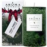 Aroma Naturals Holiday Essential Oil Pillar Candle, Fresh Forest, Juniper, Spruce and Basil, 2.5 inch x 4 inch
