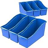 Storex Large Book Bin, 14 x 5 x 7, Case of 6, Blue
