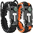 Atomic Bear Paracord Bracelet (2 Pack) - Adjustable - Fire Starter - Loud Whistle - Perfect for Hiking, Camping, Fishing and