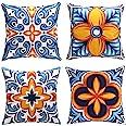 cygnus Farmhouse Throw Pillow Cover 18x18 Floral and Boho Retro Pattern Pillowcase Outdoor Cushion Cover Pillow Case for Sofa