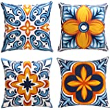 cygnus Farmhouse Throw Pillow Cover 18x18 Floral and Boho Retro Pattern Pillowcase Outdoor Cushion Cover Pillow Case for Sofa