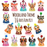 Woodland Animal Themed Party Hats Making Kit c/w Chenille Stems & Stickers. Group Activities, DIY Art Craft Home Project. Bir