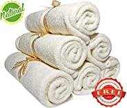 Smiling Gaia Baby Washcloths - Organic Bamboo, Luxury 2-Ply Large Washcloth. Suitable For Eczema. For Baby Shower/Registry Gifts. All Natural, Safe And Soft Reusable Wipes. 10.2