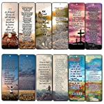 Christian Bookmarks Cards with Popular Inspirational Bible Verses - 6 Unique Designs - Bible Scripture Prayer Cards - War...