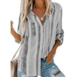 ROSKIKI Womens Long Sleeve Tops V Neck Blouse Whirlwind Tie Dye Casual Tunic Button Shirt with Pocket