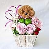 花 誕生日プレゼント女性 人気 誕生日 花 プレゼント 女性 プリザーブドフラワー バラ フラワーアレンジメ ント トイプードル茶色