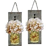 Mason Jar Sconce with LED Fairy Lights - Handcrafted Hanging Mason Jar Sconces Wall Decor (Set of 2)