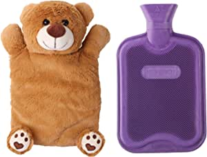 HomeTop Premium Classic Rubber Hot or Cold Water Bottle with Cute Stuffed Animal Cover (2 Liters, Light Brown Bear) by HomeTop