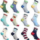 12 Pair Toddler Socks With Non Slip Grips Cotton Crew Socks for Boys Girls Multiple Patterns