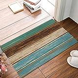 """Family Decor Door Mat Indoor/Outdoor Non Slip Entrance Front Doormat Area Rugs, 32""""x20"""" Rustic Wood Board Waterproof Absorb B"""