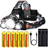 Brightest Rechargeable Headlamp 20000 Lumens, Waterproof Headlight Flashlight,Kit with 6PCS 3.7V High Capacity Rechargeable B