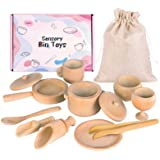 Sensory Bin Tools, Montessori Toys for Toddlers, Waldorf Toys, Wooden Scoops and Tongs for Transfer Work and Fine Motor Learn