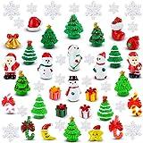 50 Pieces Christmas Miniature Ornaments Mini Resin Fairy Garden Dollhouse Decoration Ornaments DIY Kit Christmas Pendant Acce